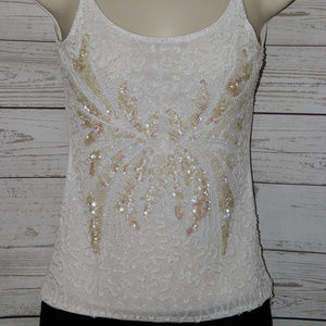 Tops - Sparkly Beaded Sequin Butterfly Tank Top Sz XS